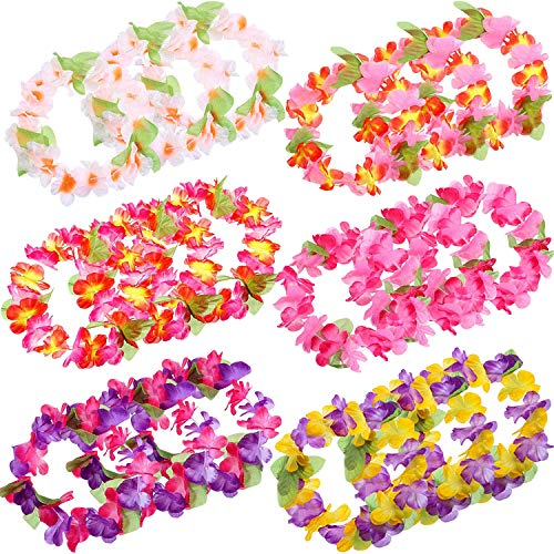 Blulu 30 Pieces Colorful Tropical Hawaiian Leis Headband Elastic Ruffled Flowers Headpiece for Luau Party Supplies, Beach Party - Tropical Colorful Flowers