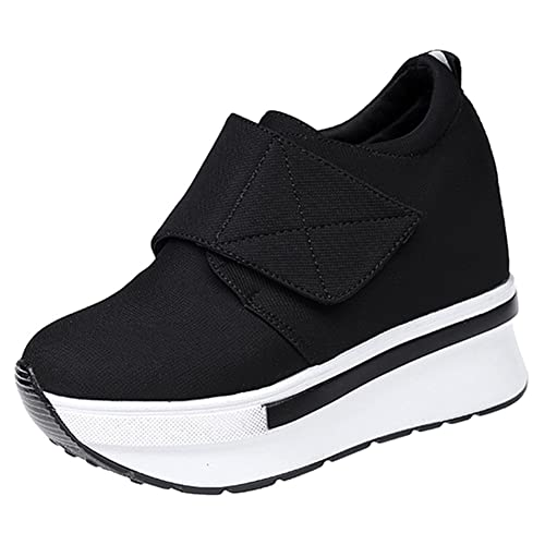 Wealsex Cuñas Suela Gruesa Plataforma Velcro De Cremallera Zapatos Para Correr Asfalto Aire Libre Casuales Zapatillas Para Mujer Concealed Altura 3.5 ...