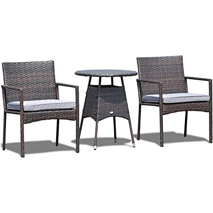 Peachy Amazon Com Lhone 3 Pcs Rattan Wicker Bistro Sofa Set Coffee Cjindustries Chair Design For Home Cjindustriesco