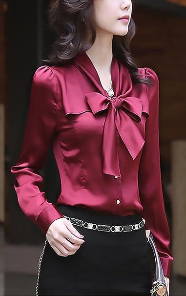 Adelina Blusas De Mujer De Moda 2018 Elegantes Vintage Satén ...