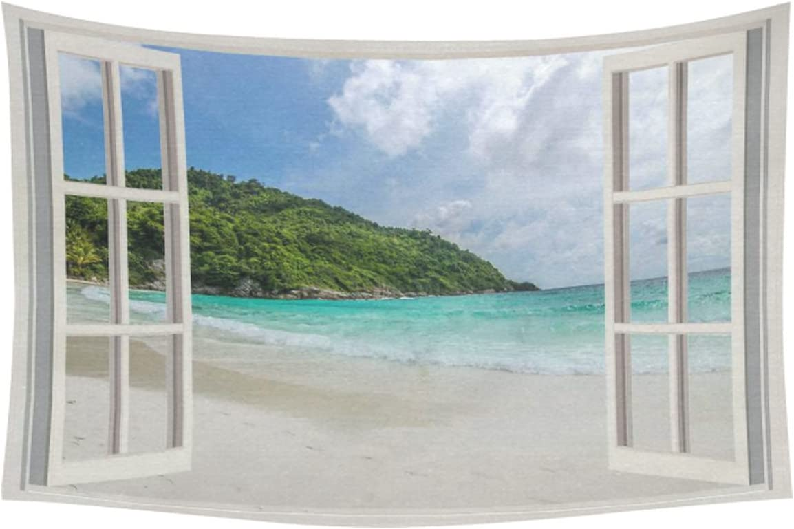 INTERESTPRINT Summer Beach Home Decor Wall Art, The Open Window with Sea Views Tapestry Wall Hanging Art Sets 60 X 40 Inches