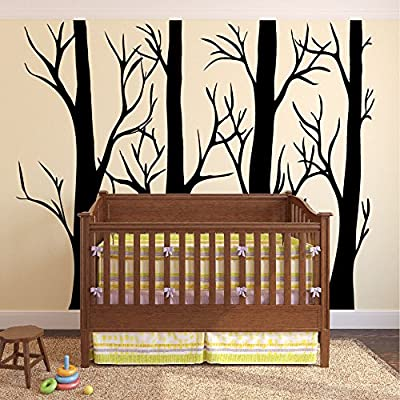 "Large Wall Vinyl Tree Forest Decal Birch Aspen Removable Sticker Nursery Decor #1310 (108"" (9ft) Tall, Matte Black): Home Improvement"