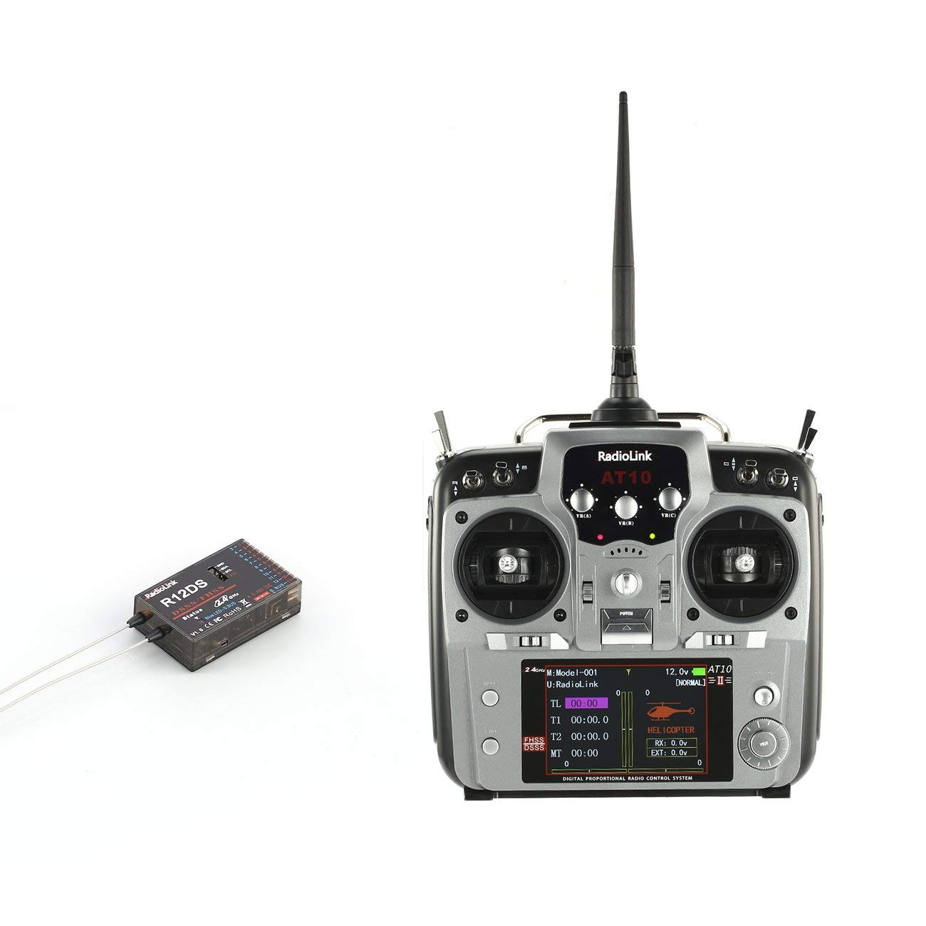 Radioenlace AT10II 2.4G 12CH RC Transmisor Receptor de Radio con R12DS RPM-01