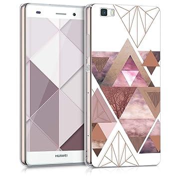 kwmobile Funda para Huawei P8 Lite (2015) - Carcasa de [TPU] para móvil y diseño de triángulos en [Rosa Claro/Oro Rosa/Blanco]