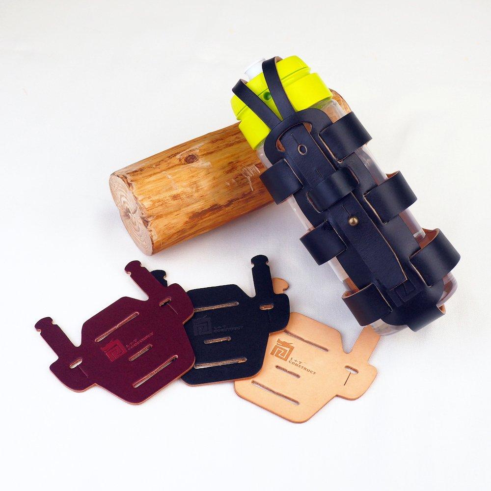 Bottle Cage for Brompton - ローマ連続ボトルホルダー&椅子マウントパッド束-手作りBLACK色かごとパッドを持つイタリア本物の革のため手製である   B07F8TY6G7