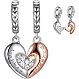 Mom Mother Daughter Heart Love Charms Dangle Charm Bead Set Fit Pandora Bracelet for European Snake Chain 925 sterling silver