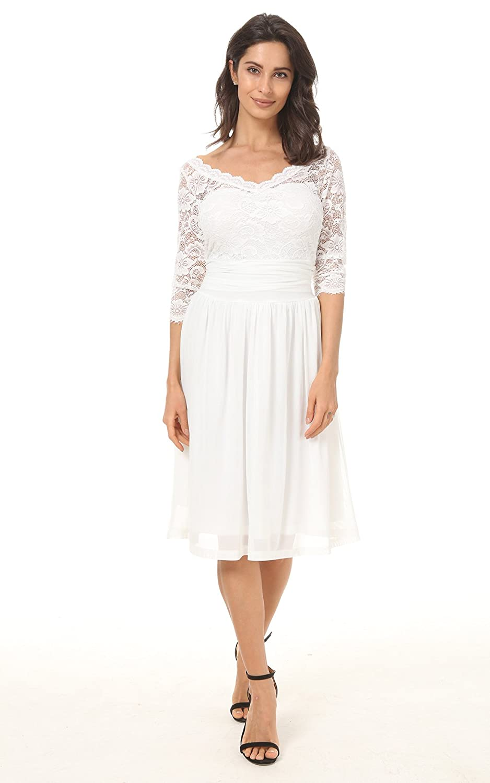 Dilanni Women S Plus Size Retro 1950s Scalloped Lace Skater Dress