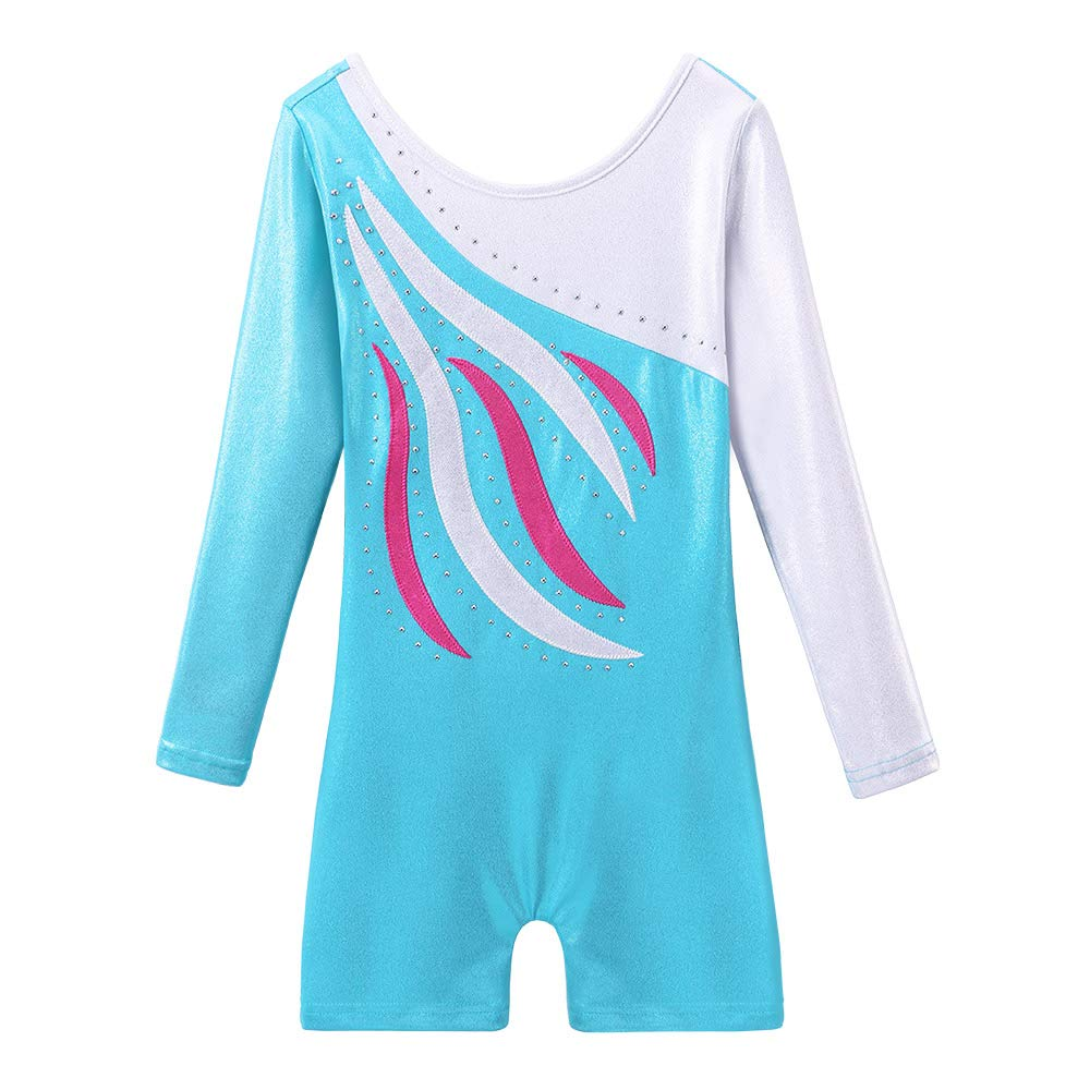 BAOHULU Leotard for Toddler Girls Gymnastics Shorts Sparkle Embroidery Tank Biketards One Piece B196_LightBlue_110 by BAOHULU