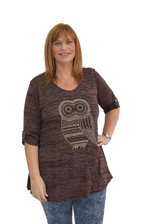 Girl Talk Clothing Plus Size Owl Embellished 3/4 Sleeve Top