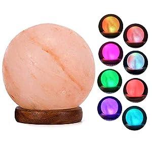 V.C.Formark USB Himalayan Salt Lamp Release Negative Ions for Office Home Deco Yoga Gift, Round Crystal Rock Hand Carved+Genuine Wood Base+Colors Changing Salt Lamp