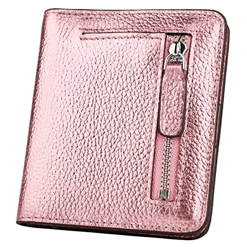 Front Pocket Mini (RFID Blocking Wallet Women's Small Compact Bifold Leather Purse Front Pocket Mini Wallet (Rose Gold))