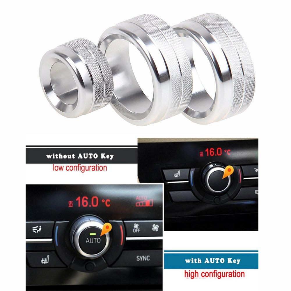 eaglerich coche aire acondicionado calor interruptor de control pomos Anillo embellecedor para la decoración de interiores ajuste para BMW 5/6/7 Serie 5 GT ...