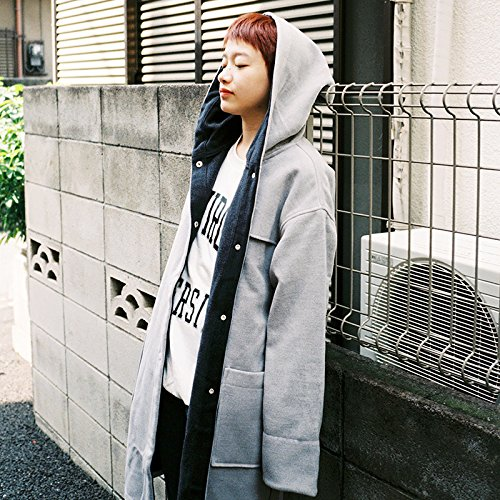 A A Coat Long Coat; Grey Hooded Long Xuanku O7TPwqII