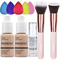 2 Pack PHOERA Foundation Nude 102 and PHOERA Primer,Liquid Full Coverage Foundation Set,Foundation Brush Powder Brush,5…