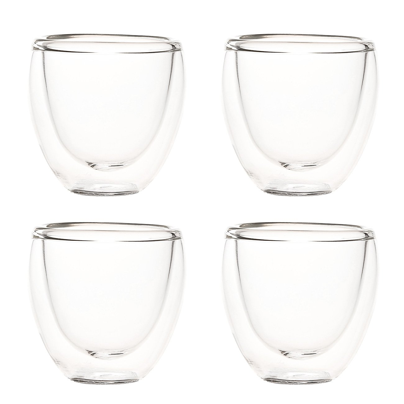 Juvale Set of 4 Espresso Cups - Double Walled Espresso Glasses, Insulated Glass, Coffee Cups, Drinking Glasses for Tea, Water - 2 Ounces
