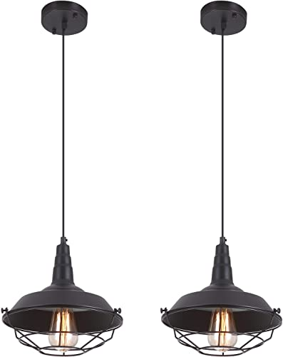 Heircido 2 Pack Industrial Cage Pendant Light Vintage Farmhouse Hanging Light Fixture