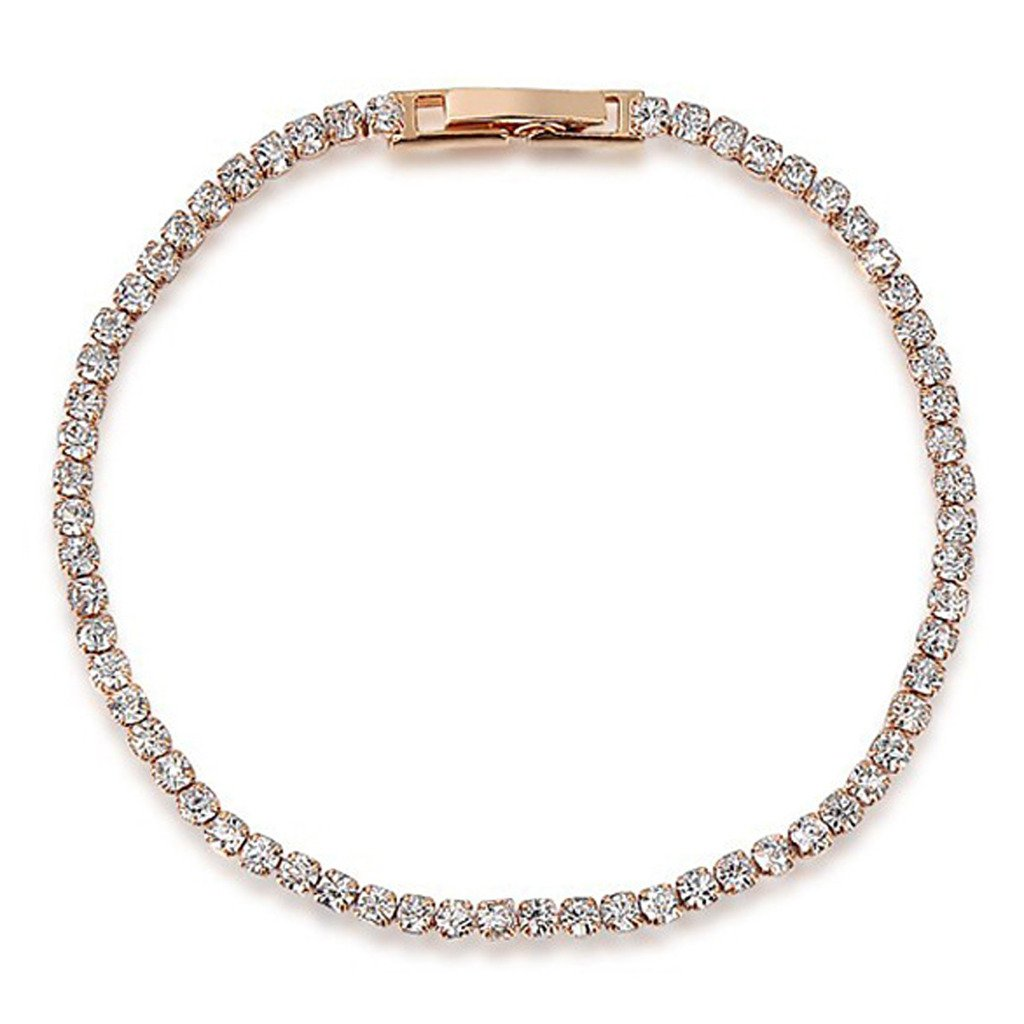 Aeici Jewelry, Rose Gold Plated Austrian Crystal White Bracelet for Women Mother Channel Charm,18CM