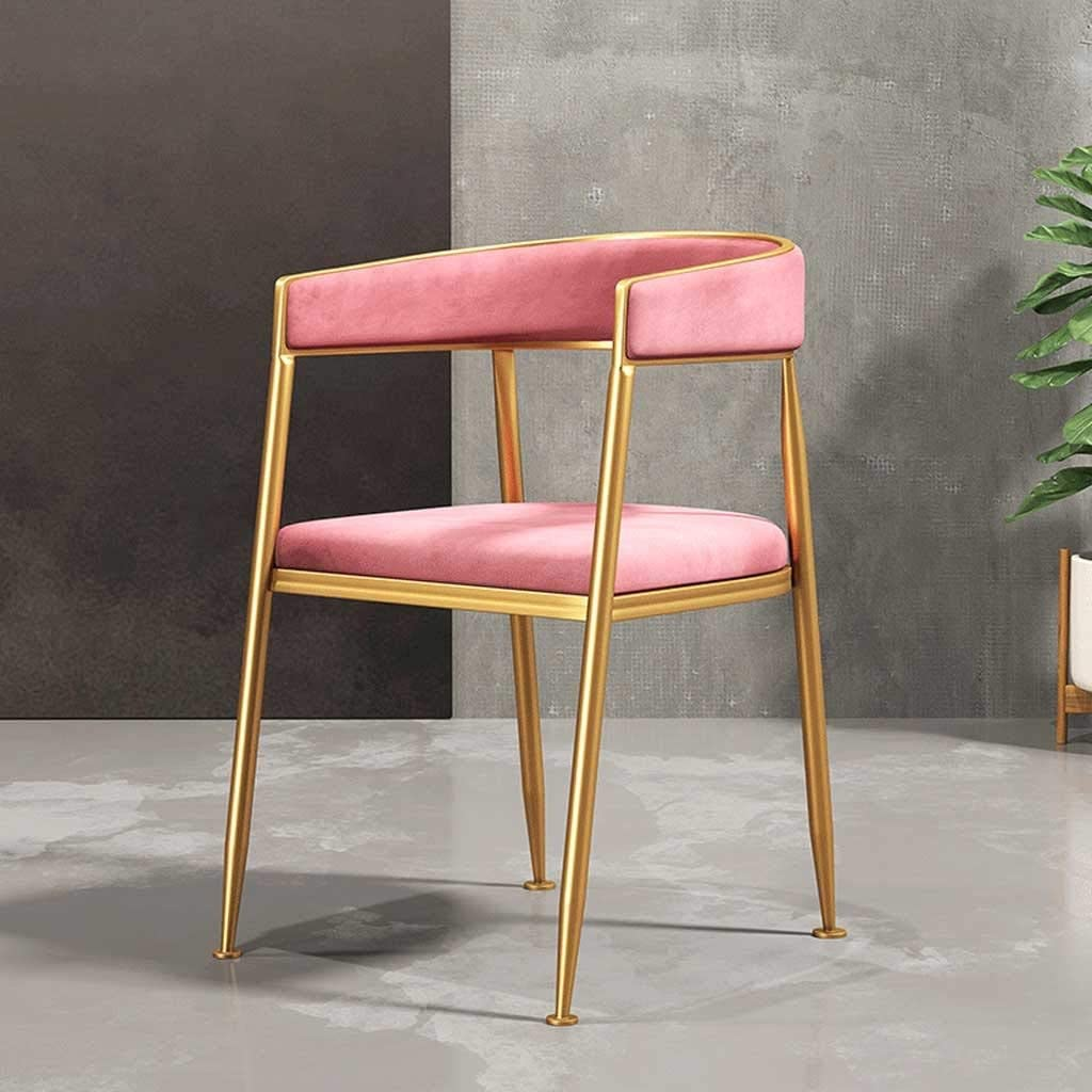 Coffee Chairs, Dining Chairs, Kitchen Chairs Fabric Solid Metal Chairs Suede Seat Dining Room Living Room Bedrooms Shopping Malls Sun Lounger (Color : Pink)
