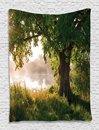 Scene Wall Tapestry (Tree Tapestry Oak Decor by Ambesonne, Mystic Landscape Foggy Scene and Stream View Painting, Bedroom Living Kids Girls Boys Room Dorm Accessories Wall Hanging Tapestry, Green Brown White)