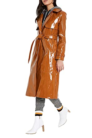 various kinds of fashion design closer at Alamodetrend Women's Fashion Brown Vinyl Trench Coat at ...