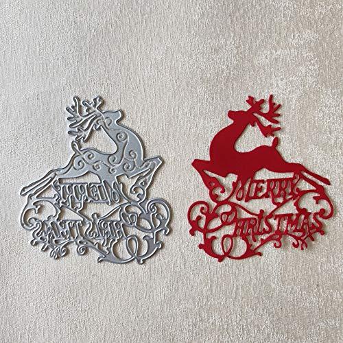 Reindeer Die - Swovo Metal Cutting Dies Christmas Reindeer Border Stitched DIY Scrapbooking Stamps Craft Embossing Die Making Stencil Template Kangkang