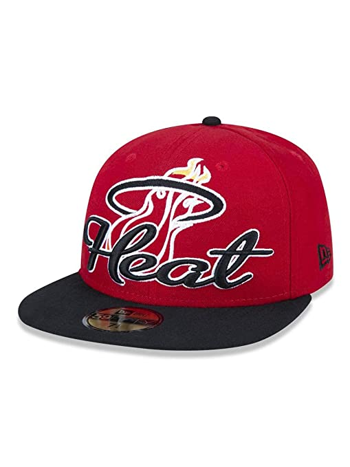 aa40d2e25de1d Amazon.com   Miami Heat New Era Script Down Fitted Cap 7 3 4 ...