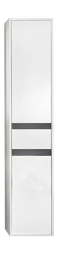 Trendteam Smart Living Badezimmer Hochschrank Schrank Sol 35 X 172 X 31 Cm In Korpus Weiss Front Weiss Hochglanz Mit Viel Stauraum Und Einem
