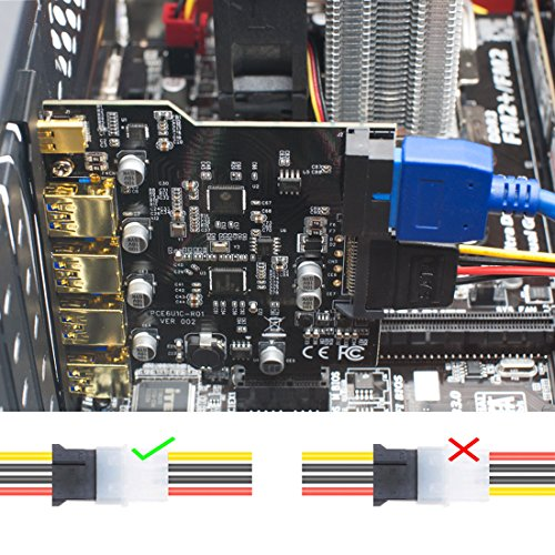 Mailiya PCI-E to Type-C + A 5-Port USB 3.0 PCI Express Card 15-Pin Power Connector, Mini PCI-E USB 3.0 Hub Controller Adapter Internal 20-Pin Connector - Expand Another Two USB 3.0 Ports by Mailiya (Image #4)