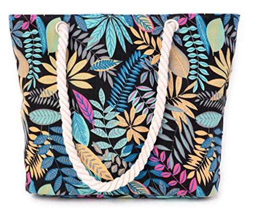 Mujer Playa Del Compras Impresión Mano Hojas Bolsa De Hombro De Alliswell Del Azules Bolso De Bolsa Geometría Totalizadores Los nWprHnZdx