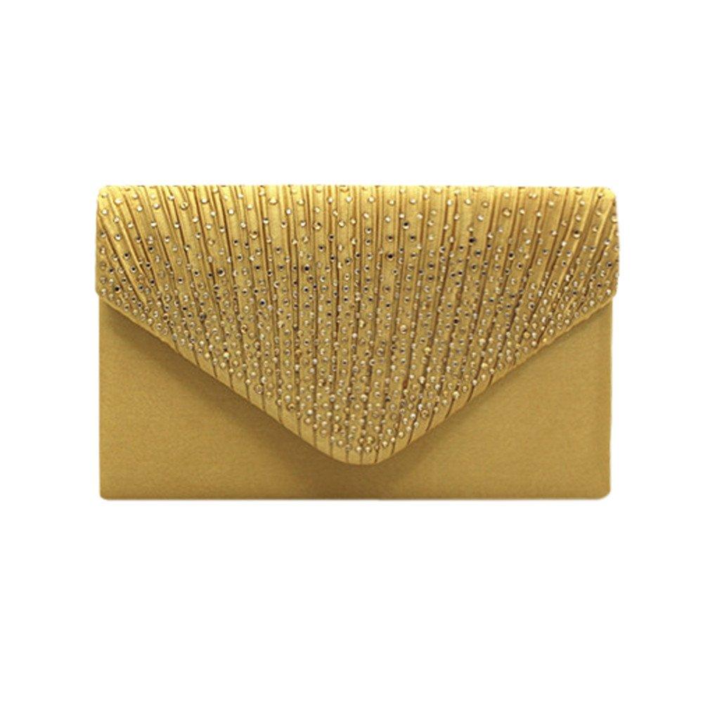 Damen Clutch Ulanda Satin Strass Abendtasche Frauen Handtasche Umhängetaschen Abend Hochzeit Braut Partei Abschlussball Geldbörse Umschlag Schultertasche