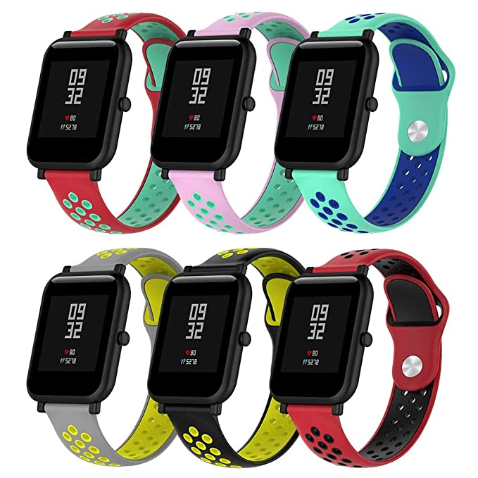 Budesi Replacement Band for Amazfit Bip, Soft Silicone Breathable Adjustable Sport Strap Wristband Bands for Huami Amazfit Bip Smartwatch 20mm ...