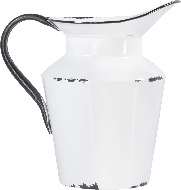 Red Co. Vintage White Jug Enameled Metal Tall Flower Vase Plant Holder Décor for Home and Garden