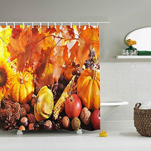 Happy Thanksgiving - Waterproof Mildew Resistant Fabric Polyester 100% Shower Curtain.60