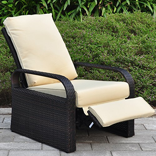 Outdoor Wicker Recliner Chair with 5.12'' Cushions, Automatic Adjustable Patio Chaise Lounge Chairs, Aluminum Frame. UV Resistant and Rustless (Khaki) - Outdoor Chaise Single