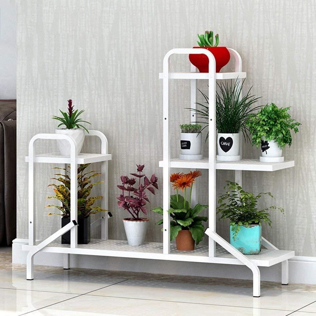LIRIDP フラワースタンド木製シェルフ アイアンフラワースタンド多層インテリアバルコニー棚三角形補強リビングルーム植物の植木鉢ラック必要インストール100 * 28 * 88センチ (Color : White) B07SGPW1YN White