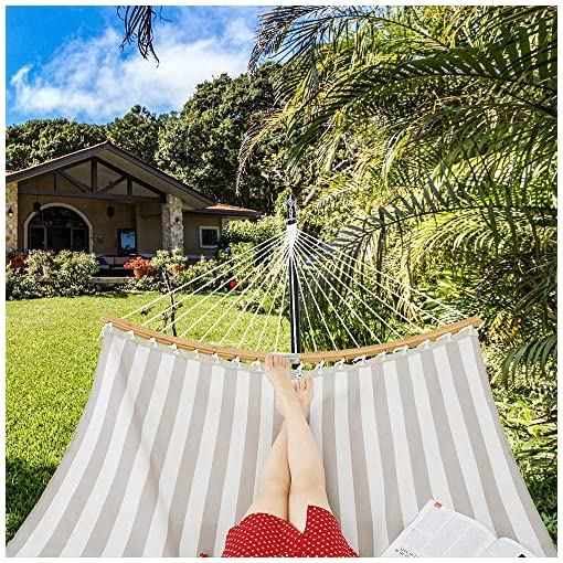 Garden and Outdoor Patio Watcher 12 Feet Steel Stand with Quick Dry Hammock Curved Bamboo Spreader Bar Hammock for Outdoor Patio Yard 2… hammocks