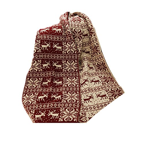 Scarf Muffler Reindeer Patterned Knit Weave Colored Warm Girls For Cold Weather (Dark Red) by SXON (Image #1)