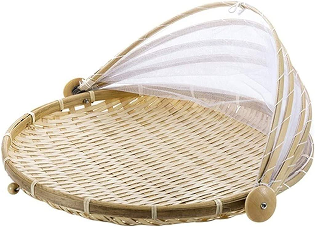 clacce Handgewebter Zeltkorb Zeltkorb mit Gaze staubdich Obst-Gem/üse-Brotdecke Aufbewahrungsbeh/älter f/ür Picknick im Freien