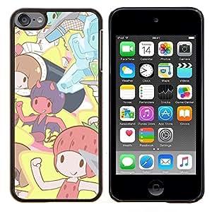 Qstar Arte & diseño plástico duro Fundas Cover Cubre Hard Case Cover para Apple iPod Touch 6 6th Touch6 (Pixies lindos dibujos animados)