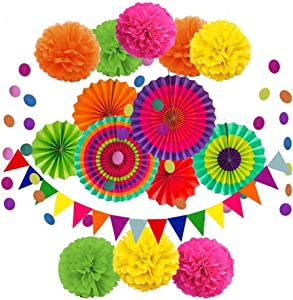 Party Decoration, 16 Pcs Multi-Color Hanging Paper Medallions Fans, Pom Poms Flowers, Garlands String Polka Dot and Triangle Bunting Flags for Birthday Parties, Wedding Decor, Fiesta or Mexican Party