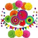 Fiesta Banner Mexican Party Pinwheels Fiesta Decorations Paper Fans Cinco de Mayo