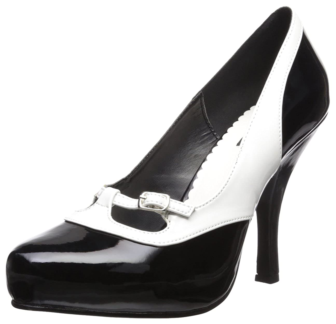 TALLA 41 EU. Pinup Couture - Zapatos de Vestir de Material sintético para Mujer Negro Negro y Blanco
