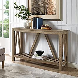 Home Accent Furnishings New 52 Inch Wide A-Frame Entry Table – Rustic Oak Finish