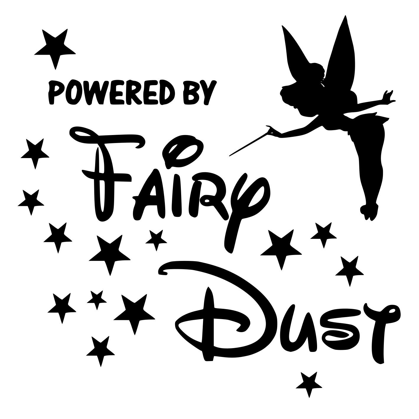 Tinkerbell Fairy Powered by Fairydust Car Sticker//Decal Small