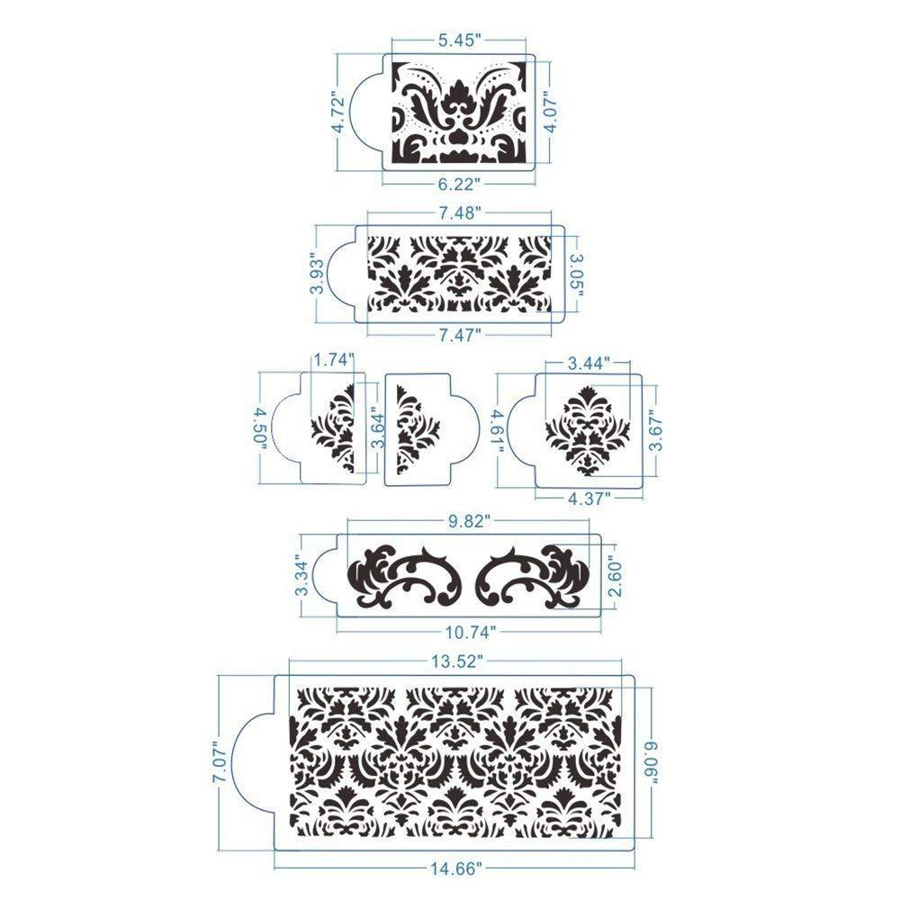 HULISEN 7Pcs Cake Decorating Stencil Mold Wedding Cake Stencil, Cake Mould by HULISEN (Image #2)