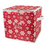 DII Holiday Ornament Storage Bin with Dividers & Separators to Protect Fragile Christmas Tree Decorations (Holds 48 Ball Decorations) - Snowflake, Small