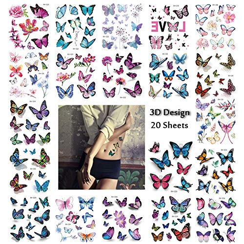 3D Butterfly Tattoos 170+PCS for Women, Scar Cover Up Makeup Temporary Tattoos Body Art Waterfroof Sticker Monarch Butterfly Flower Design for Leg, Thigh, Hip and - Flower Butterfly Tattoos