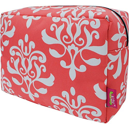 Shabby Damask Print Large Cosmetic Travel Pouch