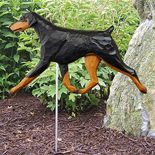 Ky & Co YesKela Doberman Pinscher Outdoor Garden Sign Hand Painted Figure Black/Tan Uncropped