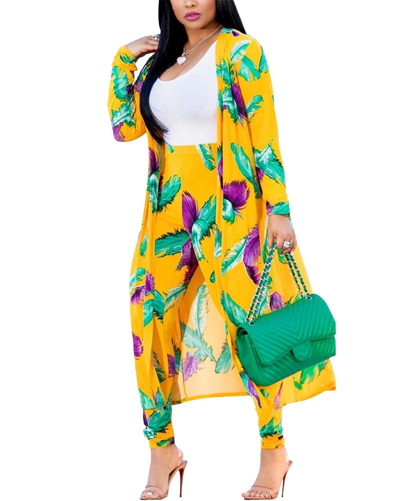 Women Feather Print Open Front Cardigan Pants Set 2 Piece Outfits Clubwear Yellow L